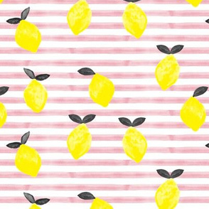 lemons - watercolor stripes (pink v2)