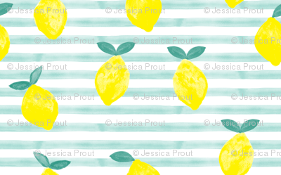 lemons - watercolor stripes (blue)