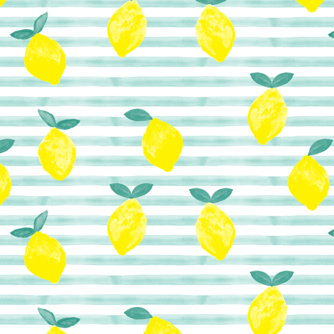 lemons - watercolor stripes (blue) fabric by littlearrowdesign on Spoonflower - custom fabric