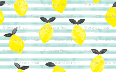 lemons - watercolor stripes (blue v2)