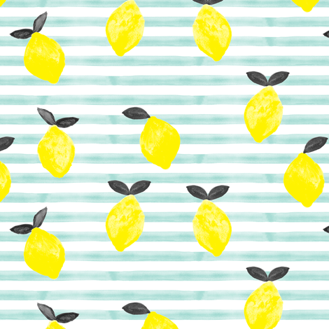 lemons - watercolor stripes (blue v2) fabric by littlearrowdesign on Spoonflower - custom fabric