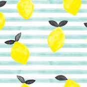 lemons - watercolor stripes (blue v2)