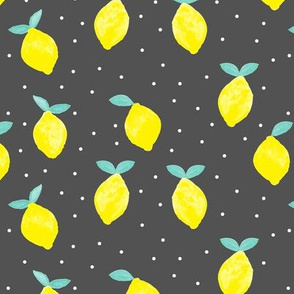 so fresh lemons on dark grey