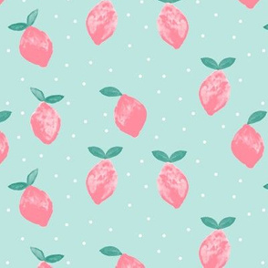 so fresh pink lemons on blue