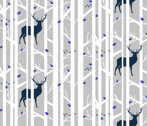walk in the woods - navy deer fabric by buckwoodsdesignco on Spoonflower - custom fabric