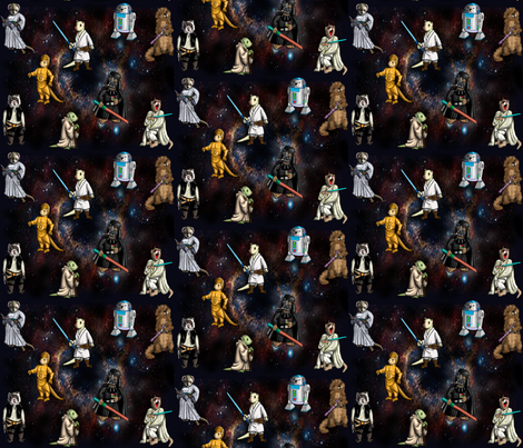 cosmic ferrets Small fabric by deva_kolb on Spoonflower - custom fabric