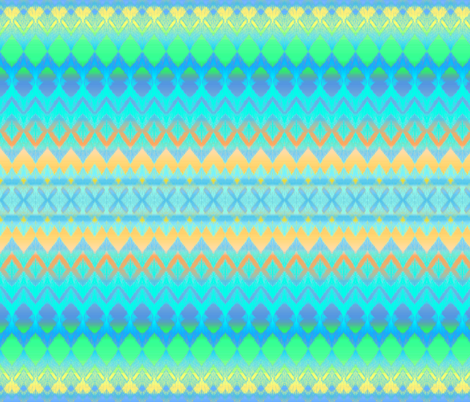Orange, Blue, Yellow and Green Ombre Ikat and Chevron Stripes fabric by micklyn on Spoonflower - custom fabric