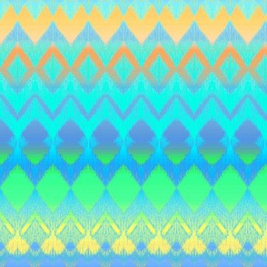 Orange, Blue, Yellow and Green Ombre Ikat and Chevron Stripes