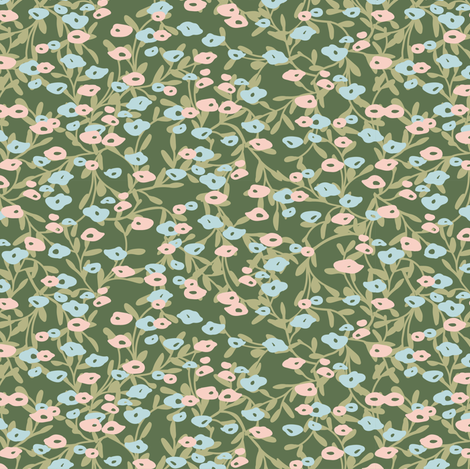 Flower Patch in green fabric by lburleighdesigns on Spoonflower - custom fabric