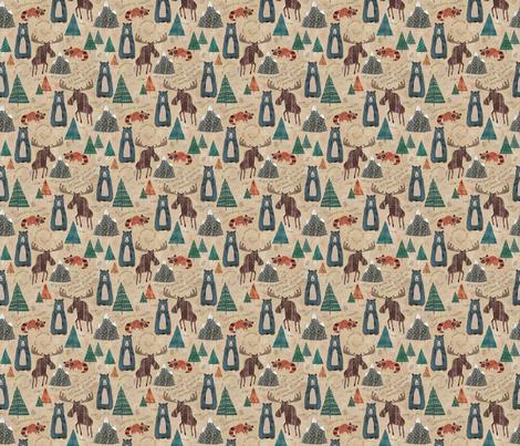 Mountain Animals (Mini Size) fabric by sarah_treu on Spoonflower - custom fabric