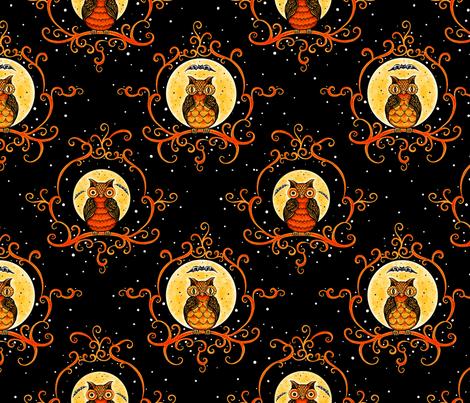Painted_Scroll_Owls_ fabric by johannaparkerdesign on Spoonflower - custom fabric
