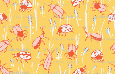 bugs in yellow and red