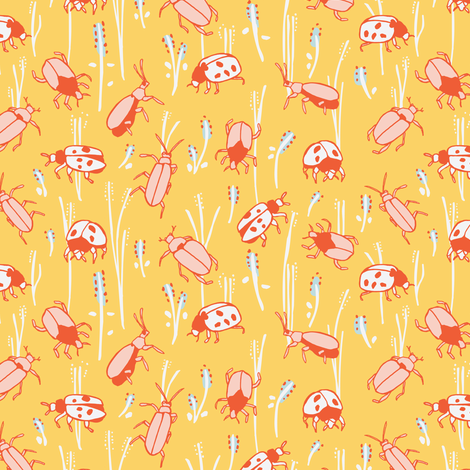 bugs in yellow and red fabric by lburleighdesigns on Spoonflower - custom fabric