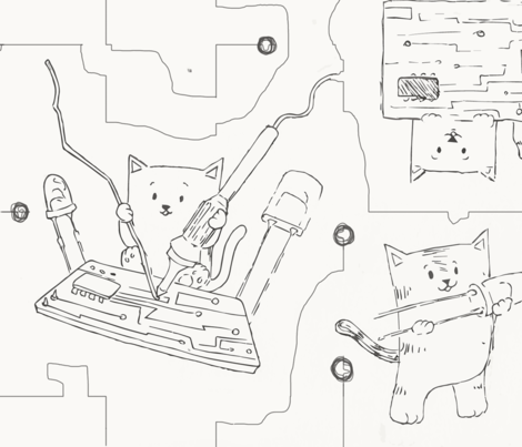 Pixel Kitten fabric by artawakening on Spoonflower - custom fabric