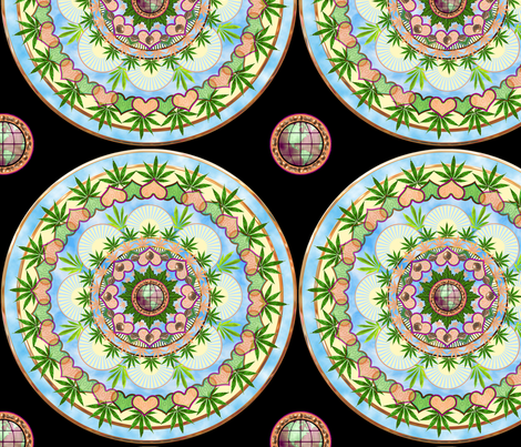 Marijuana Mandala 12x12 fabric by camomoto on Spoonflower - custom fabric