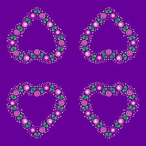 Folk Art Heart of Roses on purple