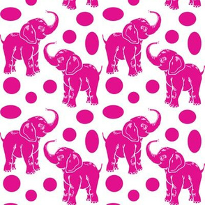 Baby Elephants in hot pink on white