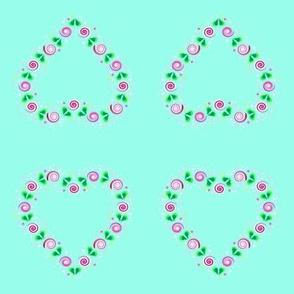 Folk Art Heart of Roses on mint green