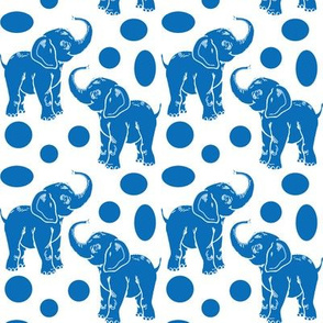 Baby Elephants in blue on white
