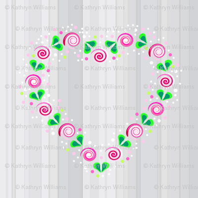 Folk Art Heart of Roses on grey stripes