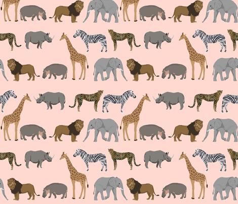 Safari animals fabric safari nursery design light blush for Safari fabric for nursery