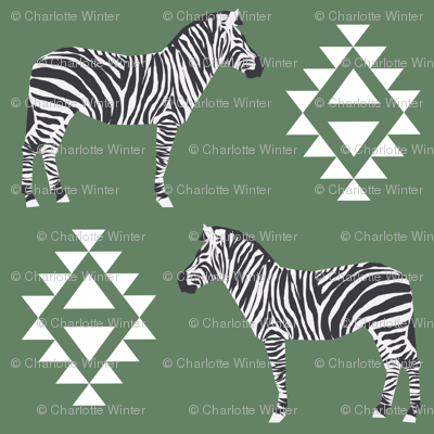 zebra fabric safari animals fabric nursery baby design green