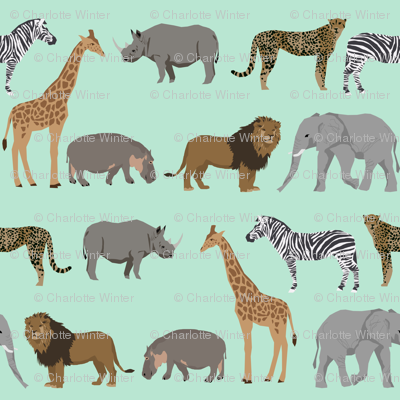 Safari animals fabric safari nursery design mint nursery for Safari fabric for nursery