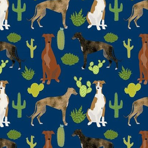greyhounds and cactus fabric dog fabrics for sewing - navy