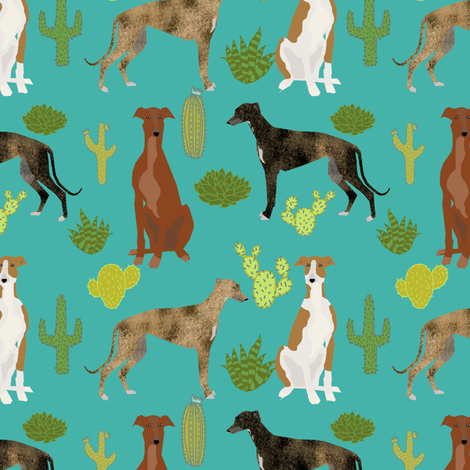 greyhounds and cactus fabric dog fabrics for sewing - turquoise fabric by petfriendly on Spoonflower - custom fabric