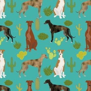 greyhounds and cactus fabric dog fabrics for sewing - turquoise