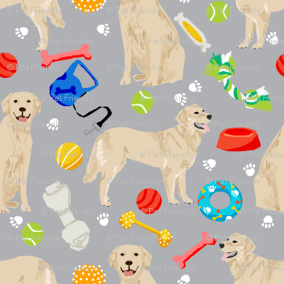 golden retrievers fabric dogs and dog toys design - grey