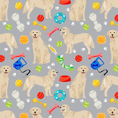 golden retrievers fabric dogs and dog toys design - grey fabric by petfriendly on Spoonflower - custom fabric