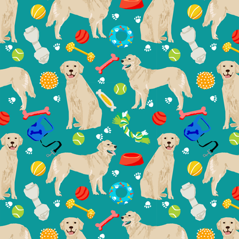 golden retrievers fabric dogs and dog toys design - teal fabric by petfriendly on Spoonflower - custom fabric
