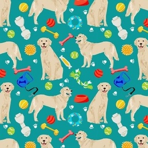golden retrievers fabric dogs and dog toys design - teal