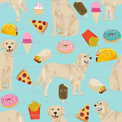golden retrievers fabric dogs and junk foods design - blue tint