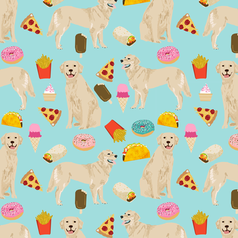 golden retrievers fabric dogs and junk foods design - blue tint fabric by petfriendly on Spoonflower - custom fabric