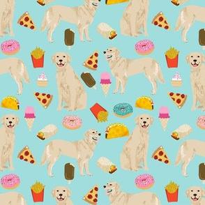golden retrievers fabric dogs and junk foods design - blue tint