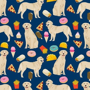 golden retrievers fabric dogs and junk foods design - navy