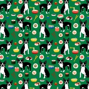 boston terrier fabric sushi and dogs design