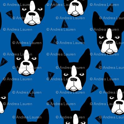 boston terrier dog fabric // blue dog design dogs by andrea lauren