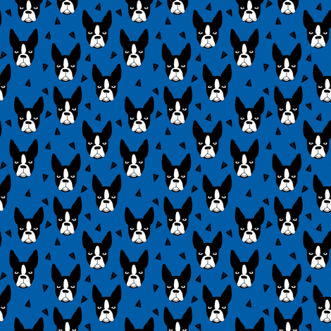 boston terrier dog fabric // blue dog design dogs by andrea lauren fabric by andrea_lauren on Spoonflower - custom fabric