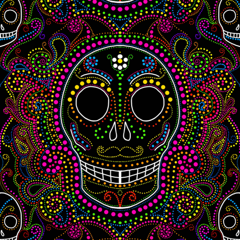 Sugar skull dotsplosion fabric by beesocks on Spoonflower - custom fabric