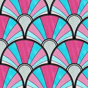 Flowing Art Deco Fan in Blue and Pink