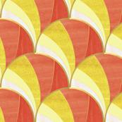 Warped Art Deco Fan Pattern in Orange Ombre