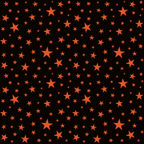 Orange_Stars_on_Black fabric by johannaparkerdesign on Spoonflower - custom fabric