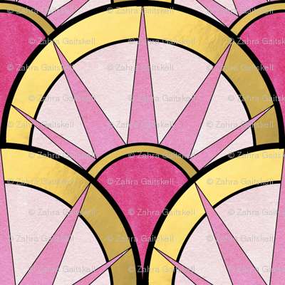 Fancy Art Deco Fan with Ombre Pink and Gold