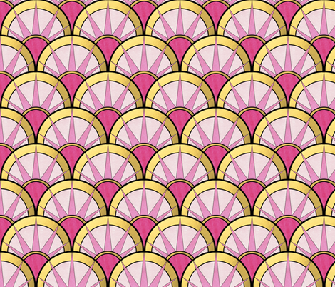 Fancy Art Deco Fan with Ombre Pink and Gold fabric by suzzincolour on Spoonflower - custom fabric