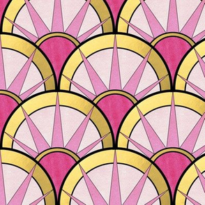 Fancy Fan with Ombre Pink and Gold