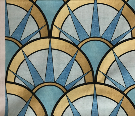 Fancy Art Deco Fan Pattern in Blue and Gold