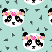 panda fabric girls flowers crown floral panda fabric mint